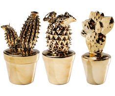 Zestaw kaktusów dekoracyjnych Kaktus, 3 szt., Złoty