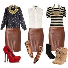 Stylish designer dresses for women Mode Outfits, Fall Outfits, Dance Outfits, Brown Leather Skirt, Leather Skirts, Leather Leggings, Pencil Skirt Outfits, Pencil Skirts, Winter Skirt Outfit