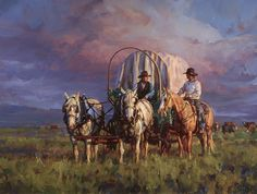 In the Morning Light-- Before the sun has even peeked out from the mountains, the chuckwagon has fed its party and is on its way to the next meal Jason Rich Farm Paintings, Animal Paintings, Indian Paintings, Beautiful Drawings, Beautiful Paintings, Native American Art, American Artists, Early American, Cowboy Pictures