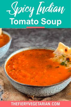 This spicy Indian tomato soup (also known as tamatar ka shorba) recipe is easy, vegan, homemade, and low-calorie. Quick and healthy, it comes together in just 15 minutes for the best light meal or side you'll ever have! Make it today and pair it with crusty fresh bread or garlic naan, or ladle over a good biryani. Vegetarian Masala, Spicy Vegetarian Recipes, Vegan Indian Recipes, Vegetarian Lunch Ideas For Work, Easy Vegan Lunch, Vegan Lunches, Indian Tomato Soup, Shorba Recipe, Vegan Stew