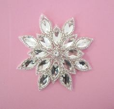 Silver Snowflake Applique with Rhinestone center--1 pc