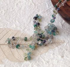Into the blue gemstone necklace with apatite by graciedot on Etsy, £27.00