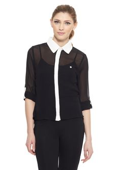 Grass' Long Sleeve Blouse w/ Contrast Trim and Collar