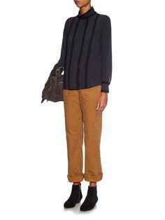 Long-sleeved silk and lace blouse | Masscob | MATCHESFASHION.COM UK