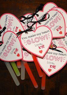 Tween valentine, preschool valentine, You make my heart glow, non-food valentine