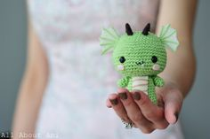 "Free crochet pattern for ""Chinese New Year Dragon""!  So sweet and detailed with his wings, horns, and scaled belly!"