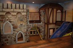 kids playroom delux castle two stories and second level walkway