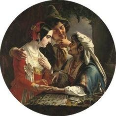 """The Fortune Teller"" (1841) by Russian artist Mikhail Ivanovich Skotti"