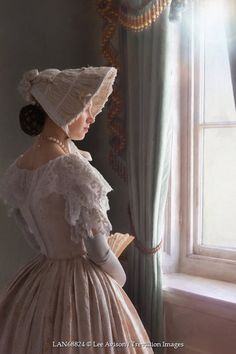 Lee Avison HISTORICAL WOMAN IN HAT BY WINDOW Women