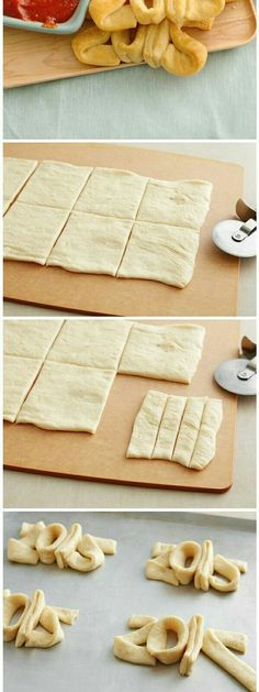 You need: 1/2 cup of pizza sauce and 1 can  of pillsbury crescent recipe  creatipons refrigerated seamless dough sheet ☺  ☺  ☺