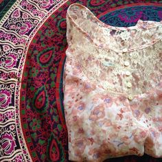 Urban Outfitters cute boho top Kimchi Blue cute boho top from Urban Outfitters. Floral design and pretty lace on top. Excellent condition! Urban Outfitters Tops