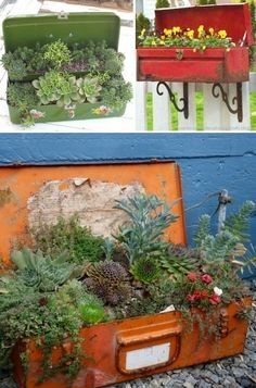More Garden Containers You Never Thought Of… • Tons of Tips & Ideas! Including these repurposed old tool box planters from making art of life and confessions of a curb shopaholic.