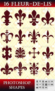 16 Photoshop Fleur-de-lis Shapes. Single user purchase fee $3.00 #fleurdelis