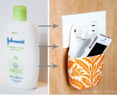 Phone charging station from an empty lotion bottle
