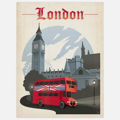 World Travel London 18x24 now featured on Fab.