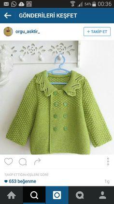 Canan Atesoglu # crochet poncho kids for girls Baby Cardigan Knitting Pattern Free, Crochet Baby Jacket, Knitted Baby Cardigan, Baby Knitting Patterns, Baby Patterns, Crochet Poncho, Knitting For Kids, Free Knitting, Baby Sweaters