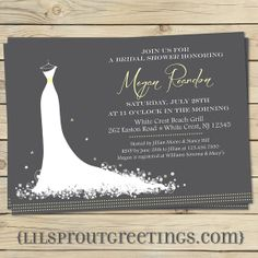 Elegant Modern Bridal Shower Invitation by lilsproutgreetings, $16.00