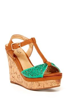 tan and aqua wedge