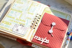 Travel scrapbook ideas - use pockets and envelopes for maps, tickets etc