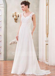 Forme Princesse Col V alayage/Pinceau train Mousseline Robe de mariée avec Dentelle Emperler Sequins (002042294)
