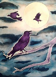 Crow Moon - Original Fine Art for Sale, Art Auction - © by D. Renee Wilson