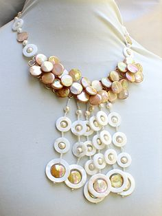 Mop Gold,Pearl,Brass collar Necklace