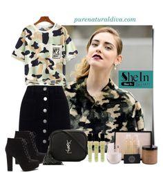 """Camouflage Green T-shirt"" by purenaturaldiva ❤ liked on Polyvore featuring Miss Selfridge, Yves Saint Laurent, naturalbeauty, organicbeauty and purenaturaldiva"
