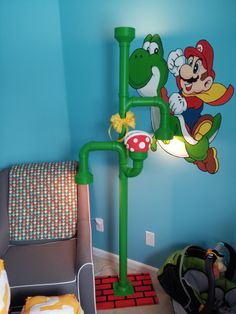 Shared by Mario Pipe Floor Lamp Super Mario Nursery, Super Mario Room, Nerd Room, Gamer Room, Bedroom Themes, Kids Bedroom, Nintendo Room, Video Game Decor, Game Room Design