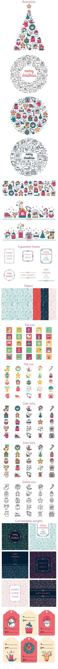 Christmas colored icon set. Christmas Icons. $15.00