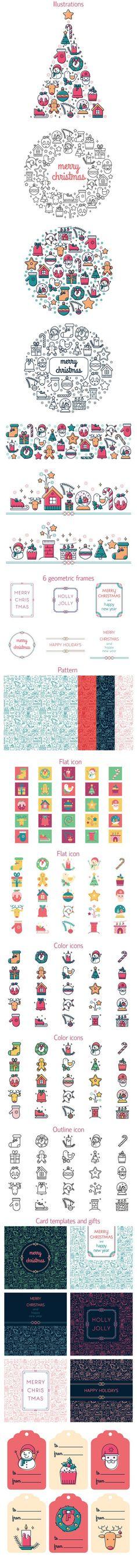 Christmas colored icon set. Christmas Icons. $15.00