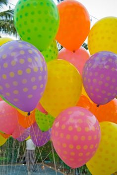 "Polka dotted balloons!  ""I love pastel polka dots. These colors are exactly like jelly beans."" ...dl"