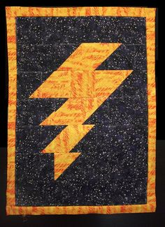Lightning bolt quilt.  No pattern, but so easy a child could make it.  ^^