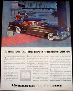 =-=1954 CAR Ad black Roadmaster by Buick original