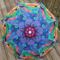 Quilt Art Umbrella  Columns and Circles by PersimonDreams on Etsy, $45.00