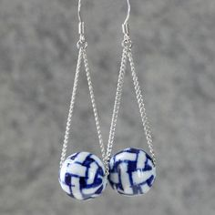 Linear long Indigo ceramic swing dangle Earrings Bridesmaids gifts Free US Shipping handmade Anni Designs
