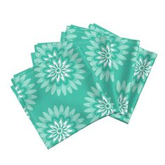 Amarela Dinner Napkins featuring mint teal dahlia pop by dnbmama | Roostery Home Decor