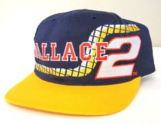 rare vtg RUSTY WALLACE #2 NASCAR HAT Snapback Navy-Blue Yellow Racing Cap Miller #CompetitorsView #RustyWallaceRacing