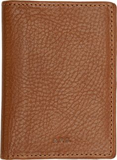 A.P.C. Brown Grained Leather Andrew Card Holder
