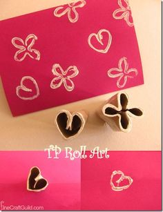 Happy Cards, made in minutes, with ... Toilet Paper Roll Stamps! Fun & Easy.  Scrapbooking + kids art idea.