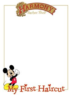 "Harmony Barber Shop - My First Haircut - Mickey - Project Life Journal Card - Scrapbooking. ~~~~~~~~~ Size: 3x4"" @ 300 dpi. This card is **Personal use only - NOT for sale/resale** Clipart/logo belongs to Disney. Font is Stamping Nico www.dafont.com/stamping-nico.font ***Click through to photobucket for more versions of this card including plain and character cards :) ***"