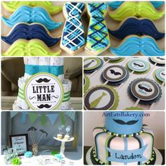 Mustache boy baby shower (lime green & baby blue)