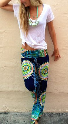 Amazing floral design casual summer pants