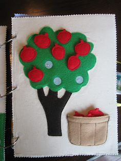 Apple tree quiet book page with velcro apples. Really well done!