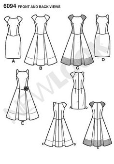 New Look 6094 dress Line Drawing