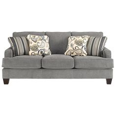 Yvette Sofa and Loveseat in Steel | Nebraska Furniture Mart
