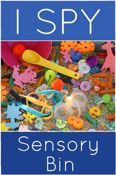 """""""I SPY"""" Sensory Bin: A terrific back-to-school activity that gets little ones exploring and working together in a new classroom or daycare. It's one of my favourite """"first day back"""" activities to do here with the hooligans. Best of all, you just use odds and ends that you already have on hand! Happy Hooligans"""