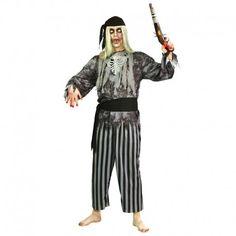Disfraces Halloween | Disfraz de pirata zombie. Contiene pantalón de rayas, cinturón, camisa y pañuelo para la cabeza. Talla M/L. 21,95€ #pirata #zombie #disfrazpirata #disfrazzombie #disfraz #halloween #disfrazhalloween #disfraces