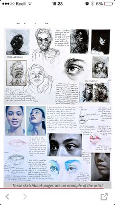 I know this is looking at facial features but I want you to look at how this page is arranged and how to student has represented the face using different techniques.