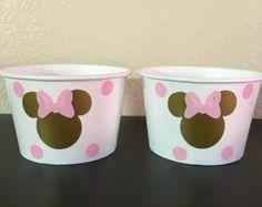 Minnie Mouse rosa y oro partido snack tazas, rosa y oro Minnie Mouse party, partido de oro y rosa Minnie Mouse