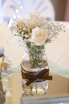 Rustic Country Mason Jar Centerpiece   #BHGREParty